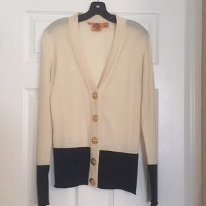 Tory Burch navy and cream cardigan